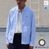 チビ衿ボタンダウン UCLA クマ刺繍付 シャンブレーオックスL/Sシャツ『日本製』Upscape Audience