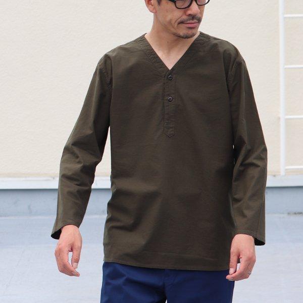 画像2: コットンクロスV neckヘンリープルオーバー9分袖シャツ【MADE IN JAPAN】『日本製』 / Upscape Audience