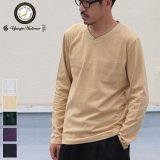 【RE PRICE/価格改定】コーマ天竺 2TONE Vネック ポケ付き L/S Tee【MADE IN JAPAN】『日本製』/ Upscape Audience