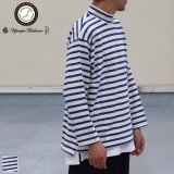 Basque10オンス(バスク天竺)フレンチボーダー モックネック ボクシー Tee【MADE IN JAPAN】『日本製』/ Upscape Audience