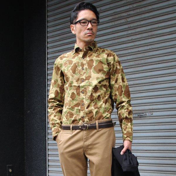 画像2: カモ柄プリントツイルオープンスプレッドボタンダウン長袖シャツ【MADE IN JAPAN】『日本製』/ Upscape Audience