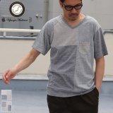 【RE PRICE/価格改定】ガラガラ紡パッチワークVネックポケット付きカットソー【MADE IN JAPAN】『日本製』/ Upscape Audience