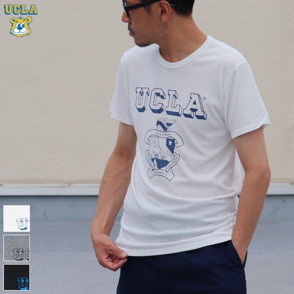 """画像1: 【RE PRICE / 価格改定】 UCLA""""UCLA""""エンブレム三素材混カレッジプリント半袖クルーネックTシャツ / Audience"""