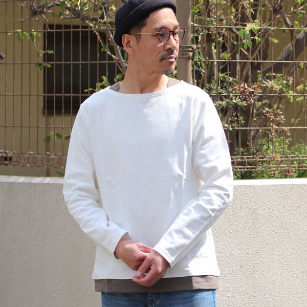 画像2: Basque天竺 ( バスク天竺 ) ボートネックレイヤードカットソー【MADE IN JAPAN】『日本製』 / Upscape Audience