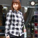 コットンフランネルチェック ワイドスプレッドボタンダウン長袖シャツ[Lady's]【MADE IN JAPAN】『日本製』 / Upscape Audience