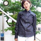 麻混デニムワイドスプレッド長袖シャツ [Lady's]【MADE IN JAPAN】『日本製』/ Upscape Audience