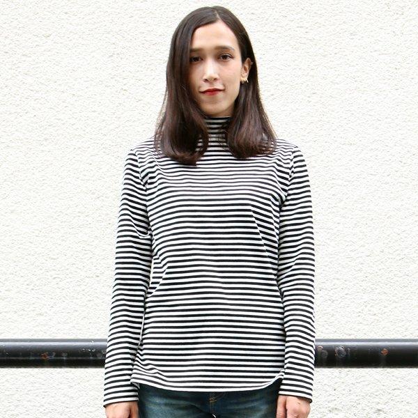 画像2: 高密度シルケットボーダーモックネック長袖Tシャツ[ Lady's ]【MADE IN JAPAN】『日本製』/ Upscape Audience