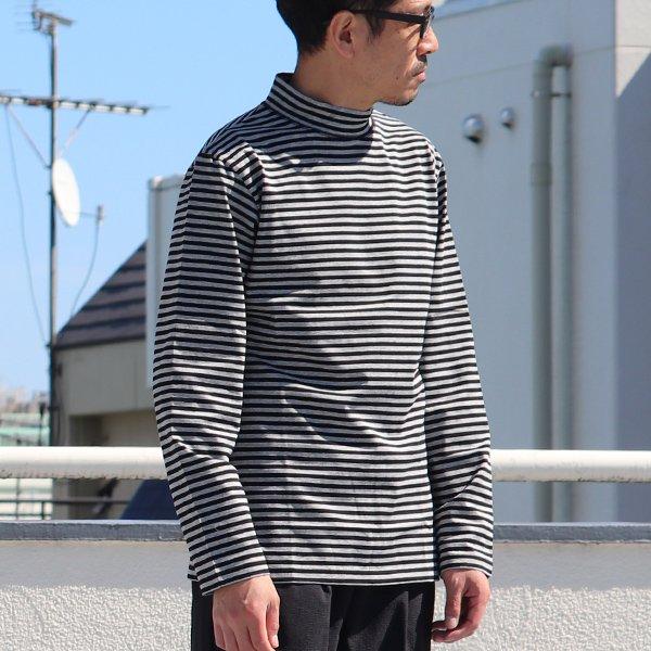 画像2: 高密度シルケットボーダーモックネック長袖Tシャツ【MADE IN JAPAN】『日本製』/ Upscape Audience