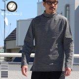 高密度シルケットボーダーモックネック長袖Tシャツ【MADE IN JAPAN】『日本製』/ Upscape Audience