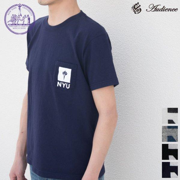 """画像1: New York University """"TORCH"""" 7.1oz米綿丸胴オールドプリントクルーネックポケットT / Audience"""