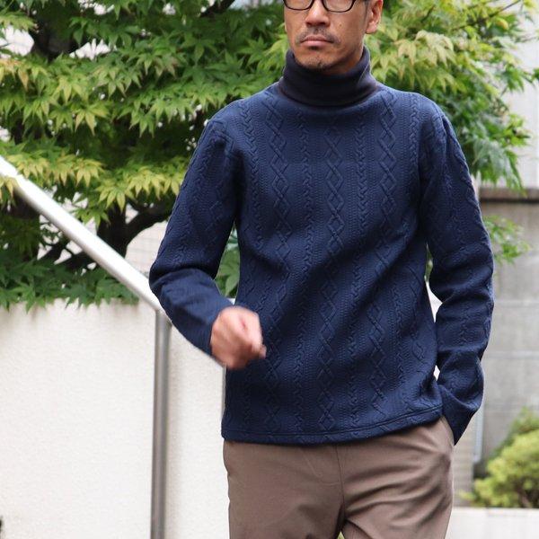 画像2: ケーブル裏毛タートルネック長袖スウェット【MADE IN JAPAN】『日本製』  / Upscape Audience