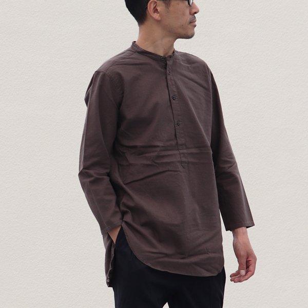 画像2: 【RE PRICE/価格改定】ソフトリネンキャンバスプルオーバーシャツバンドカラーオーバーサイズ9Sシャツ【MADE IN JAPAN】『日本製』/ Upscape Audience