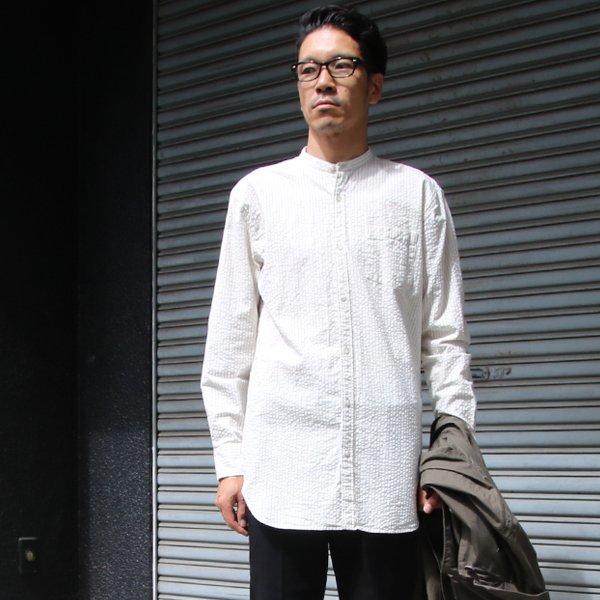 画像2: インディゴサッカーストライプバンドカラーオーバサイズロング長袖_Shirts【MADE IN JAPAN】『日本製』/ Upscape Audience