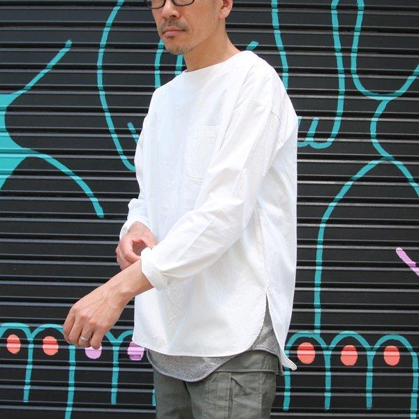 画像2: コットンギャバジンボートネックP/O ポケット付L/SシャツTEE【MADE IN JAPAN】『日本製』/ Upscape Audience