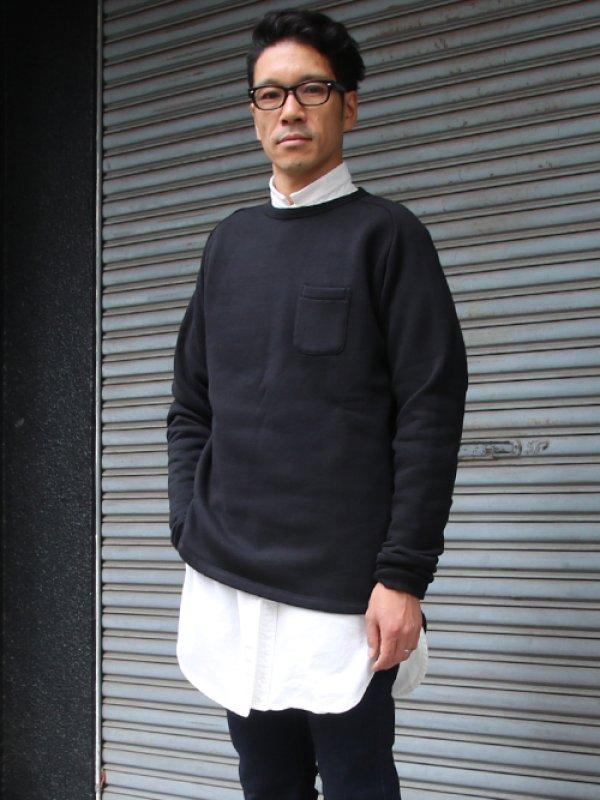 画像2: 30/7ヴィンテージ裏起毛 ヘムラウンド胸ポケット C/N L/S スウェット【MADE IN TOKYO】『東京製』/ Upscape Audience【一部ご予約・11月上旬入荷予定】