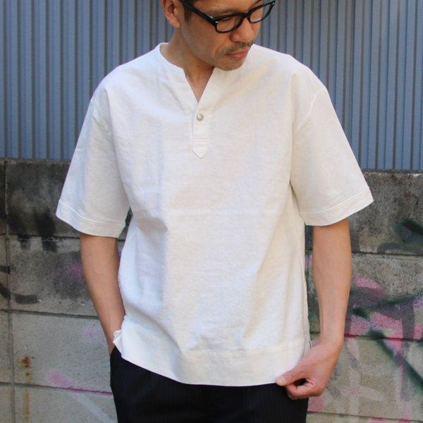 画像2: ソフトリネンコットンキャンバス キーネック コンチョ釦 5/Sシャツ【MADE IN JAPAN】『日本製』/ Upscape Audience