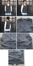 More photos3: 【RE PRICE / 価格改定】ウールライクツイルストレッチ Vネックベスト【MADE IN JAPAN】『日本製』 / Upscape Audience