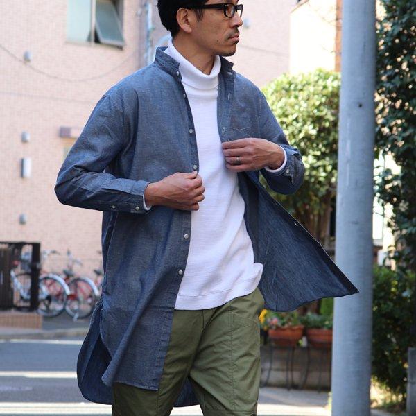 画像2: コットンリネンダンガリー ローマシャツコート【MADE IN JAPAN】『日本製』/ Upscape Audience