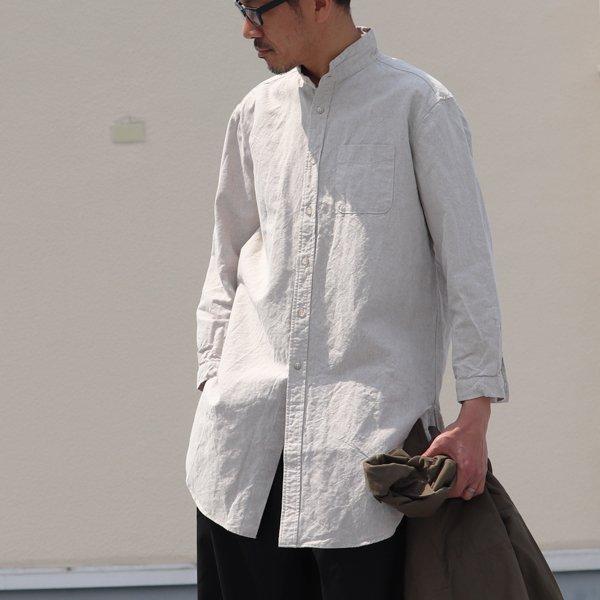 画像2: French Linen(フレンチリネン)綿麻交織ダンガリー ローマシャツコート【MADE IN JAPAN】『日本製』/ Upscape Audience