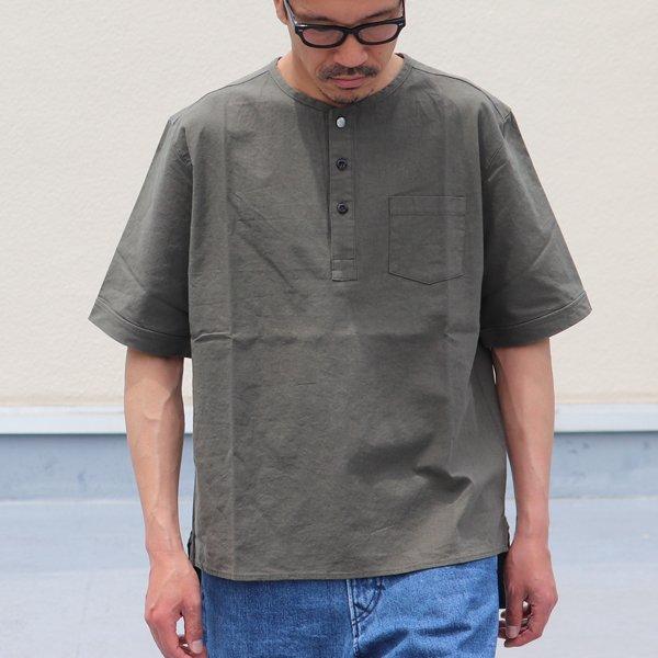 画像2: 綿麻ビンテージソフトキャンバス ヘンリーコンチョ釦 5分袖シャツ【MADE IN JAPAN】『日本製』/ Upscape Audience