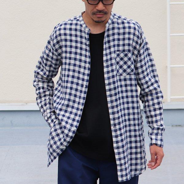 画像2: French Linen(フレンチリネン)ルーズFIT バンドカラー 長袖シャツ【MADE IN JAPAN】『日本製』/ Upscape Audience