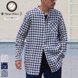 French Linen(フレンチリネン)ルーズFIT バンドカラー 長袖シャツ【MADE IN JAPAN】『日本製』/ Upscape Audience