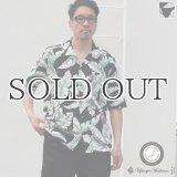 コットンレーヨン ヴィンテージHAWAII&LEAVES柄  オープンカラー ハーフスリーブシャツ【MADE IN JAPAN】『日本製』/ Upscape Audience