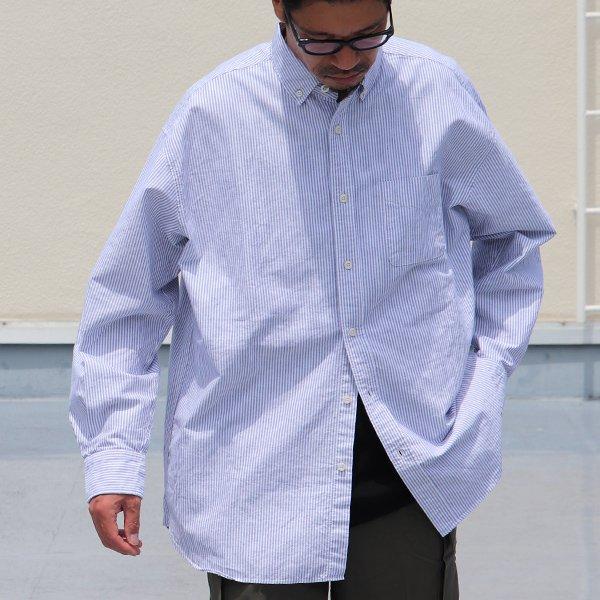 画像2: 播州織オックスフォードストライプ ボタンダウン 長袖 ボクシーシャツ【MADE IN JAPAN】『日本製』/ Upscape Audience