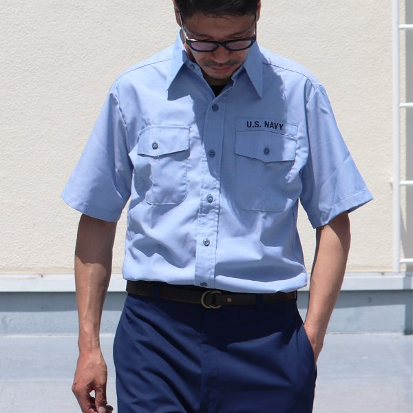 画像2: 【RE PRICE/価格改定】U.S.NAVY シャンブレー半袖ミリタリーシャツ / デッドストック
