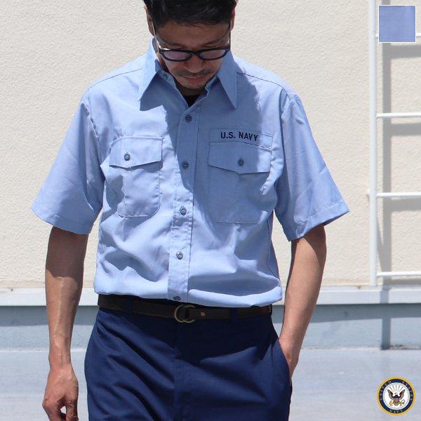 画像1: 【RE PRICE/価格改定】U.S.NAVY シャンブレー半袖ミリタリーシャツ / デッドストック