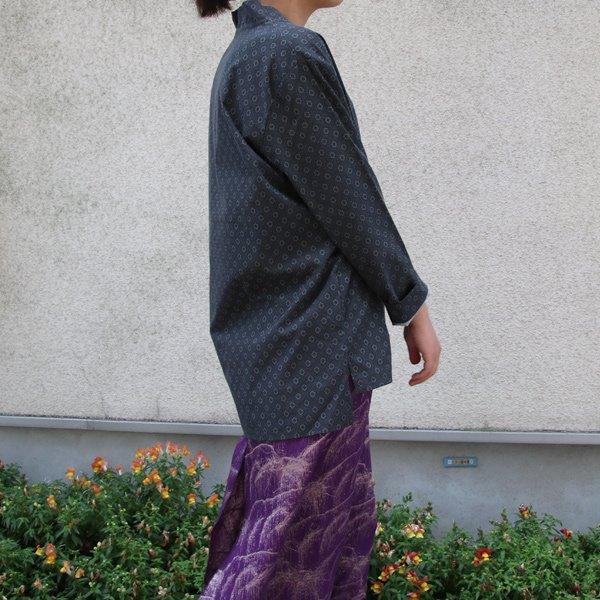 画像4: コットンクロス小紋柄キモノVネックプルオーバー9分袖_Shirts【MADE IN JAPAN】『日本製』/ Upscape Audience