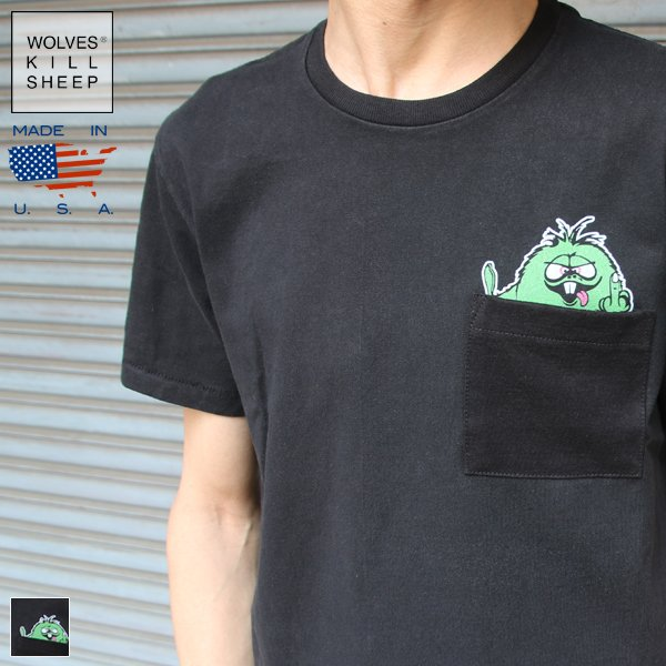 画像1: WKS SHEEP FUZZY DUDE POCKET Tシャツ【MADE IN U.S.A】『米国製』 / WOLVES KILL SHEEP