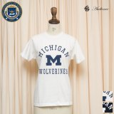 "MICHIGAN ""MICHIGAN M WOLVERINES"" C/N S/S 6.6oz オールドプリントT [Lady's] / Audience"